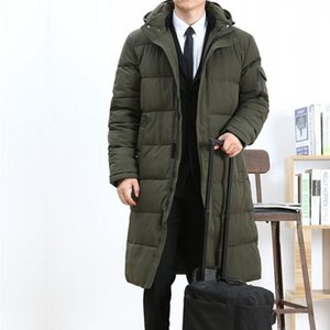 Winter Business Men Long Down Jacket Loose Thicken Warm Parkas Hooded Windbreaker Mens Overcoats Casual Large Size L-6XL Coats