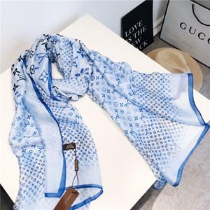 Diseñador 2020New seda de la manera caliente de la bufanda mujeres de la venta de lujo Tamaño cuatro estaciones mantón bufanda de marca bufandas sobre 180x70cm 6 colores con la caja Opt