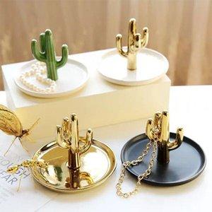 Nordic Cactus Shaped дисплей ювелирных изделий хранения Лотки Подставка Dish Держатель Cactus Аксессуар Завод Блюдо Кольцо хранения Украшение