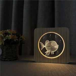 Sharelife Creative Wood + Acrylic Fish Warm White LED USB Night Light Desk Lámpara de mesa Home Room Regalo de cumpleaños para niños 3573
