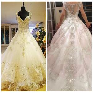 2021 bling bling cristal perlé une ligne robes de mariée dentelle applique chapelle train tulle dentelle robes de mariée vestidos de mariage