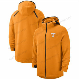 Tennessee Gönüllüler Sweatshirt On-Kortu Basketbol Oyuncu Showtime Performans Tam Zip Hoodie Navy Erkek NCAA Spor Hoodies 2018-2019