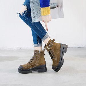 zapatos de mujer plataforma de invierno 2020 de alto tacón de cuña botines de mujer de color marrón cuero genuino chaussure femme hiver zapatos de las mujeres TSDFC