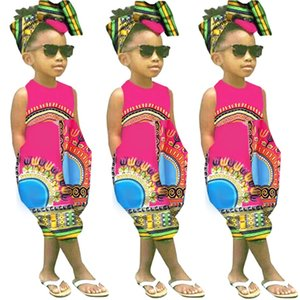 Children Sets Toddler Kids Baby Girl Summer Casual Outfits Clothes African Print Sleeveless Romper Jumpsuit Hairband Outfits T9#
