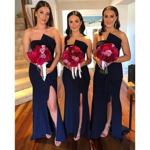 2020 Satin Mermaid Long Bridesmaid Dresses Strapless Side Split Wedding Guest Dresses Formal Maid of Honor Dress