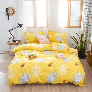 Bonenjoy Yellow Color Bedding Linens Eruo Plant Floral Printed Bed Linens Double Size housse de couette King size Bedding Sets