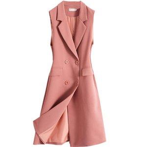 Blazer Casual Vest Waistcoat Women Double Breasted Long Suit Vest Sleeveless Jacket Coat Office Lady W1614