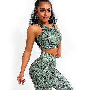 Marchwind Brand Designer Snake Print Yoga Set Женщины Crisscross Назад Спортивная одежда Тренажерный зал Одежда Фитнес Леггинсы Тренировки Спортивный Костюм Женщина