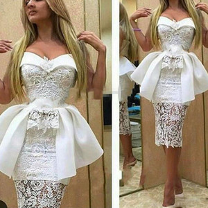 2020 Sexy Plus Size Short White Arabic African Prom Dresses Mermaid Muslim Evening Gowns