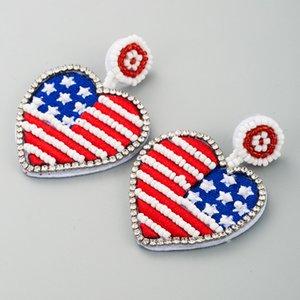 Bandeira americana criativo Beads Brincos Coração Bijuterias por Mulheres menina novo na moda Coração Pingente Brincos Acessórios Drop Shipping