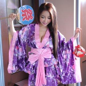 Фиолетовый кимоно равномерное соблазнительной бельё окрашивать в пурпурный цвет кимоно равномерные сексуальные костюмы костюмы косплей соблазнительной сексуальное женское белье косплей