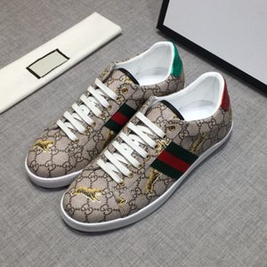 high quality mens designer shoes off printed golden tiger leather Ace white sneaker with bee casual Shoes mens running athletic GG sneakers