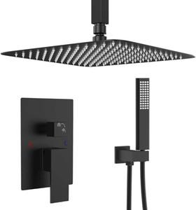욕실-쉬운 설치된의에 대한 설정 광장 레인 샤워 헤드 및 핸드 헬드 - 샤워 콤보 블랙 샤워 시스템 - 12 인치 천장 샤워 꼭지 세트