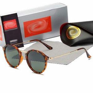 Nuovo round occhiali da sole della struttura del metallo del progettista delle donne di Sun di vetro di marca Raggi uomo Eyewear Occhiali da sole Sport Bans 3447 con i casi
