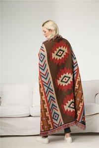 Tribal couverture rouge tissé aztèque tapis tapisserie Throw Blanket Indien indigène Chic Afghans géométriques Aztec Petits tapis tapis Camping