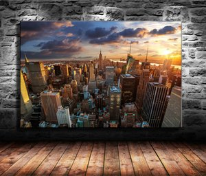 1 шт. холст печатает стены искусства масляной живописи Home Decor Fantasy Sunset - New York Skyline Cityscape (Unframed/Framed) 24x36.