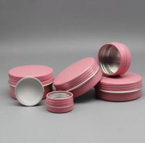 Новый 5мл 5g Алюминий розового Tin баночка Cosmetic образец металл Tins нового пустой Контейнер Bulk Круглый Пот Винт крышка Крышка Малой Унцию для свечи бальзама