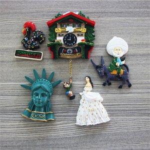 Handmade 3D Resin Spanish cock and Statue of Liberty Travel Souvenirs Creative Refrigerator Magnetic Stickers Home Decoration