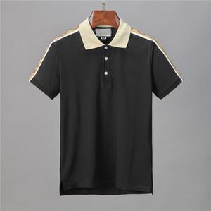 Stripe Moda 2020 Itália Designer Polo Shirts Camiseta designer de marca Cobra Bee Floral Bordados Mens Polo High street Imprimir T-shirt do polo
