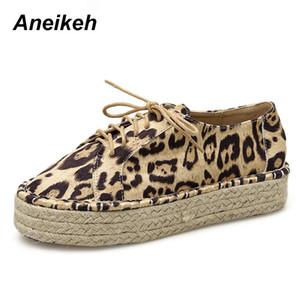 Aneikeh 2020 İlkbahar Flock Leopard Baskı Flats Kadınlar yuvarlak baş dantel-up Moda Şık Günlük Bayan Ayakkabı Boyut 35-40 Sığ