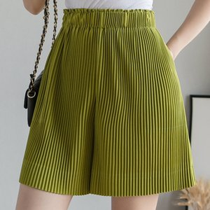 Women's Summer Cool Wide-leg Chiffon Shorts Solid High-waisted Slim Loose Ice-silk Pants Running Yoga Loose Solid Shorts