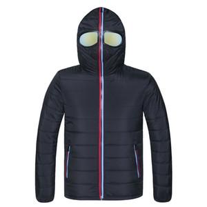 Мужские Parkas Brand Brand Parka Men Зимнее пальто на очках с капюшоном с капюшоном теплые забавные ветрозащитные верхняя одежда пылезащитная куртка