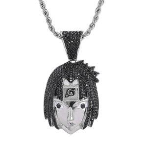 Iced Out Bling Bling Sasuke Подвеска Полный Кубический циркон Hip Hop NARUTO ожерелье Аниме рис ювелирные изделия для мужчин Boy подарок