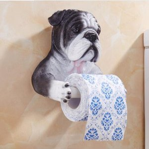 Grey Dog Toilet Paper Holder Toilet Higiene Resina Tray gratuito perfurador Mão Tissue Titular toalha de papel Household Box Reel Spool Y200108 Dispositivo