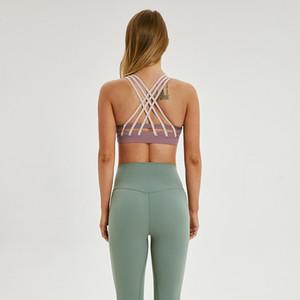 afk_lu bra block color 6 lines push up yoga bra training gym clothes women sports underwear
