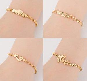 Золото Браслеты из нержавеющей стали животных для женщин Everyday украшения бабочки браслет Femme свадебного подарка
