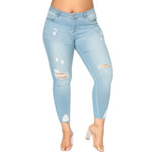 Romacci Mujer Tallas grandes Jeans rasgados 5xl 6xl 7xl Slim Denim Agujero destruido Jeans de cintura alta Pantalones de lápiz elásticos ocasionales Pantalones MX190712