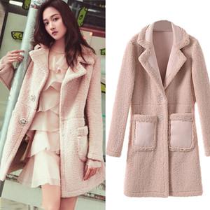 Pink Faux Fur Teddy Coat Women 2018 Winter Warm Faux Lamb Fur Long Coats Fake Suede leather Jacket Slim Pocket Outwear Chic Coat