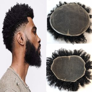 Afro Encaracolado Peruca Para Os Homens Laço Suíço Encaracolado Dos Homens Peruca Cheia Do Laço Afro Encaracolado Humano Homens cabelo Peruca Sistema de Substituição 8x10 Homens cabelo