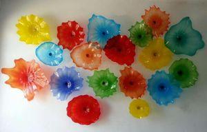 Планшеты Креативного многоцветного Murano Glass Wall Art гребешок Ребро Mouth выдувного стекло цветок стена искусство Лампа Декоративного стиль Бра