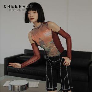 CHEERART Водолазка Tshirt Night Scene Графический Тис Женщины Mesh Ruffle Прозрачный Top Red Summer Тенниски Мода 2020