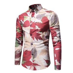 Рубашки С Длинным Рукавом Модные Тонкие Однобортные Мужские Рубашки Повседневная Мужская Одежда Maple Leaf Mens