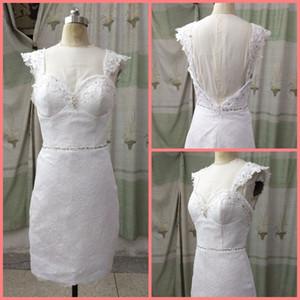 2019 frete grátis vestidos de renda branca coluna bainha curta casamento da manga Decote em coração frisado meninas petite vestidos de noiva informais