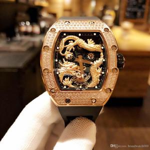 Роскошные часы, дизайнер watchesChina дракон последняя модель, ввозимый оригинальное механическое движение, оригинальная скидка, бриллиант case.Size 43 мм