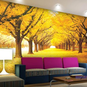 Custom 3D Wall Mural Wallpaper Modern Gold Tree Leaves Murals For Living Room Bedroom Sofa Background Home Decor Papel De Parede arkadi