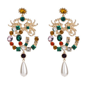 European and American fashion jewelry Bohemia style retro fashion zinc alloy synthetic diamond colorful crystal earrings