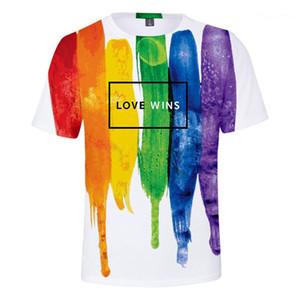 نمط لون قزحية التشيرت طبع قصير كم Tshirt Fashion LES AND GAY Tops Designers LGBT