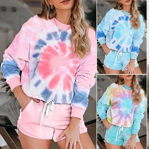 2020 Fashion Summer Autumn Two Pieces Loungewear Sleepwear Set Pajamas For Women Tie-dye Long Sleeve Suit Nightwear