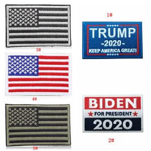Drapeau américain brodé Étiquette d'autocollant Trump Biden 2020 Président Élection Cloth Étiquette autocollant Keep America Great tissu autocollant DBC BH3828