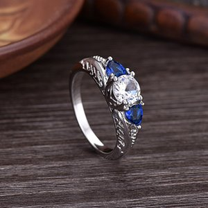 Wholesale 2020 Designer Creative New European Wish Sapphire Engagement Ring 925 Sterling Silver Jewelry