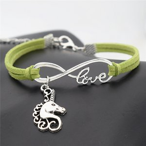 Bohemian Yeşil Deri Süet Halat Charm Takı Vintage Gümüş Infinity Aşk At Başkanı Unicorn Hayvan Kolye Kadın Erkek Hediyeler için Bilezikler