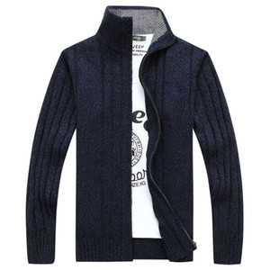 Loose Mens Sweaters Cardigan Winter Autumn Fashion Solid Color Sweaters Stand Collar Long Sleeved Knitted Sweater
