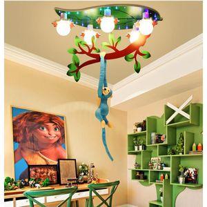 Decora scimmia del fumetto da plafone L67cm W40cm LED E27 scimmia Tree Climbing bambini Camera da letto moderna Lampadari Household Arte Infissi