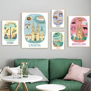 Sydney Roma Hawaii Croacia Barcelona dibujos animados viajes lienzo pintura Vintage Kraft carteles recubiertos pegatinas de pared decoración regalo familiar