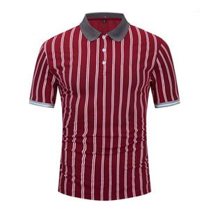 Camiseta Polo Mens Verão Tops T Luxury Men Stripe Designer Polo Estilo Negócios lapela do pescoço manga curta de Slim
