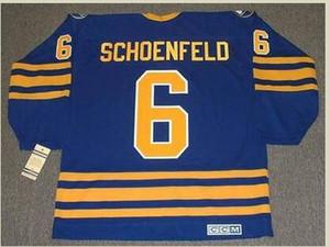 las mujeres de Hombres jóvenes Vintage # 6 Jim Schoenfeld Buffalo Sabres 1976 CCM Hockey Jersey del tamaño S-5XL o costumbre cualquier nombre o un número